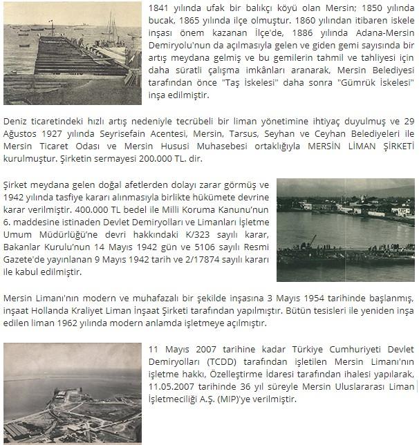 Mersin Liman覺 Tarih癟esi
